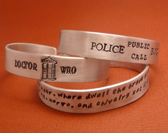 """For larger wrists - your choice of a 7"""" or 8"""" Long Personalized Custom Hand Stamped on ONE SIDE 1/2 inch Aluminum Cuff Bracelet"""