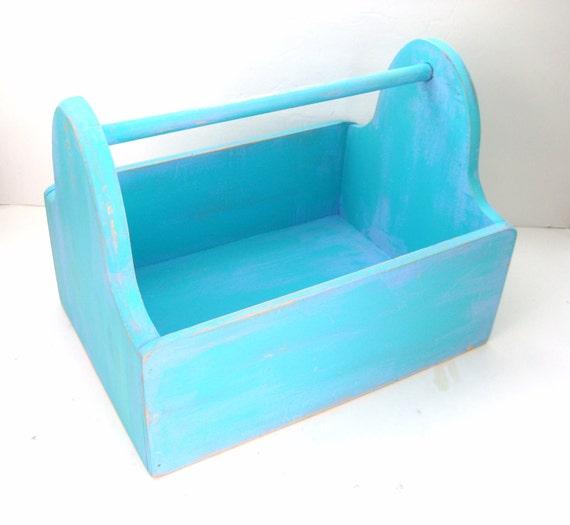 Shabby Chic Box - Turquoise Aqua Blue - Upcycled Toolbox Caddy