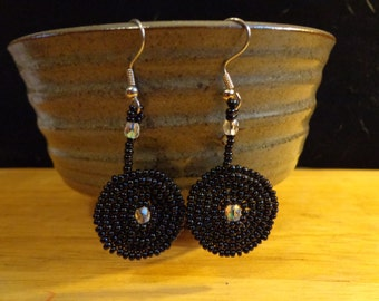 Black Seed Bead circular earrings