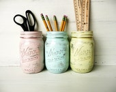 Pastel Glam - Home, Dorm or Office Decor - Painted Mason Jar - Silver Inside - Vase - BeachBlues