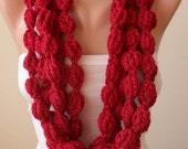 Burgundy Wool Infinity Scarf  - Crochet Scarf