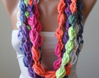 Multi Color Wool Infinity Scarf  - Crochet Scarf