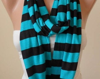 Green Striped Infinty Scarf  - Circle -  Loop Scarf - Combed Cotton Fabric
