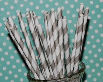 "gray stripe straws - 100 barber striped paper drinking straws - with FREE blank Flags / Pendants. See also - ""Personalized"" flags option."