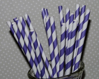 paper straws 100 PURPLE stripe straws  barber striped paper drinking straws - with FREE  Flags / Pendants party straws vintage straws