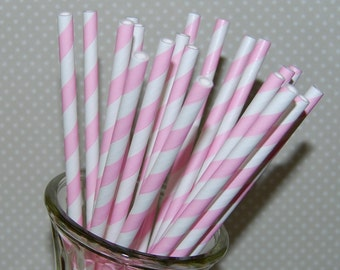 paper straws 25 light pink stripe straws barber striped paper drinking straws - with FREE  Flags / Pendants vintage straws party straws
