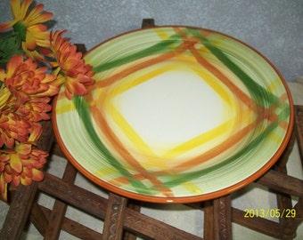 """12"""" Metlox VERNONWARE Plaid """"HOMESPUN""""  Chop Plate 1937-1958"""