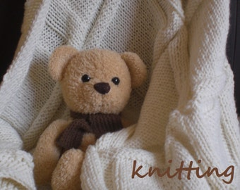 Knitting Blanket Pattern + Free Knitting Scarf Pattern. PDF 038.