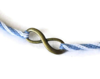 Infinity necklace - Tampa Bay blue & white kumihimo braid for him or her