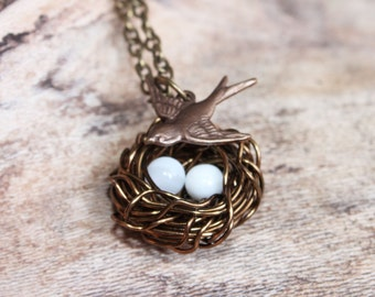 Brass Wire Wrapped Bird's Nest Necklace, Mother's Day Necklace, Wire Wrapped Necklace