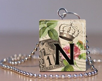 """Alphabet Letter N Scrabble Jewelry - Choose Pendant or Necklace - Vintage French Initial - Alphabet Jewelry - Charm - 18"""" Chain"""