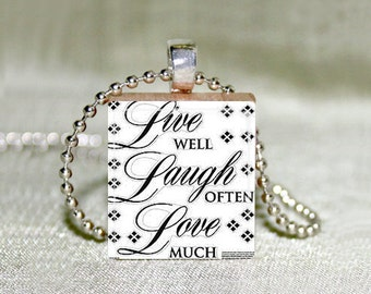 "Scrabble Jewelry - Live Well Laugh Often Love Much 4 - Choose Pendant or Necklace - Charm - Live Laugh Love Jewelry - 18"" Chain"