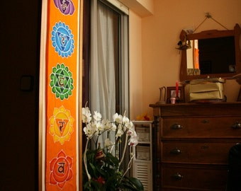 Wall hanging Chakras Batik Handpainted yoga