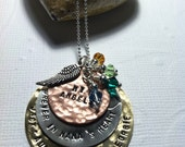 Hand Stamped Mothers Necklace - Mixed Metal-Grandmothers or Godmothers Necklace