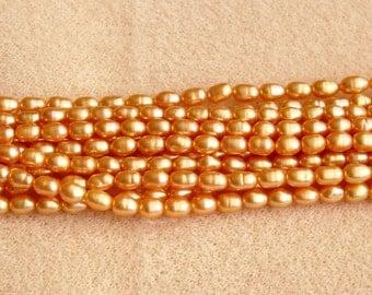 Rice Bronze Fresh Water Pearl, 4 X 2 mm  --FULL STRAND 15 inches
