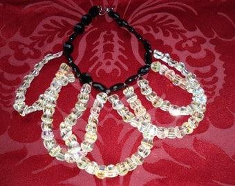 1980's Ava Botelle Aurora Borealis and Black Bead Necklace/Choker