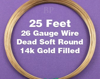 14k Gold Filled, 26 Gauge Dead Soft Round Wire Coil,  Wrapping Wire (25 FEET)