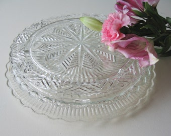 Cake Plates,  Footed Cake plates,  Wedding Tablesetting, Set of Three Serving Plates