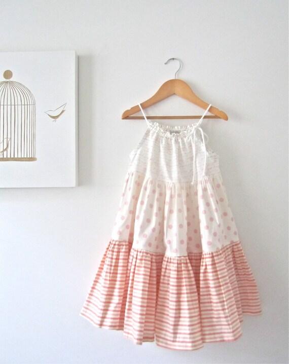 Toddler Girls Summer Twirl Dress-Peachy Pink-Ruffled Patchwork