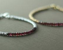 Garnet Bracelet / Marsala / Minimalist / Simple / Natural / January Birthstone Jewelry / Red Gem / Purple Gem / Stacking Bracelet