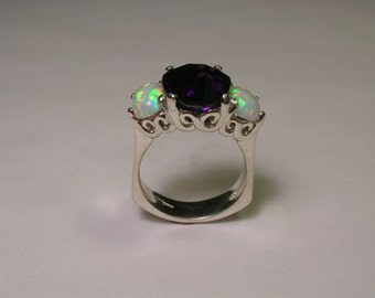 Sterling Silver Amethyst And Opal Designer Ring