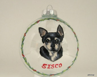 Chihuahua, Custom Portrait, Christmas Ornament, Pet Painting, Dog Art, Pet Memorial, Dog Loss, Holiday Decor, Christmas Tree Decoration