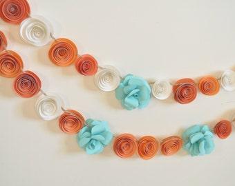 Garland Paper Flowers Orange, Teal White Garland Wedding Garland 5.5 Feet