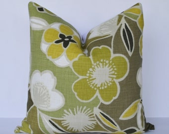 Decorative Pillow 20x20'' Green and Yellow Floral Accent Pillow Throw Pillow Cushion cover