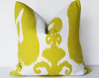 Decorative Pillow 16 square green ikat big bold print accent pillow toss pillow couch pillow cover
