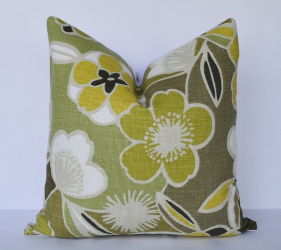 Yellow Green Decorative Pillows : Decorative Pillow 20x20 Green and Yellow Floral