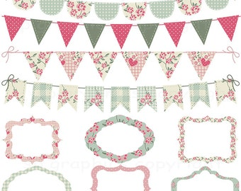 Shabby Chic Bunting and Tags / Frames - grunge - digital clipart for cards, photography, scrapbooking,   invites, general craft work