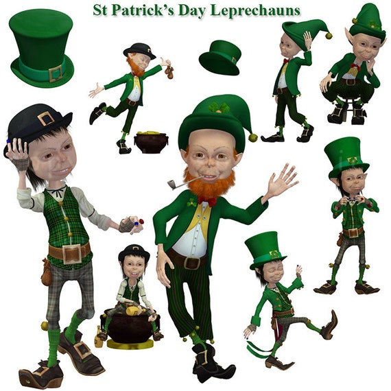 St Patrick's Day Leprechauns - Irish Jig - clipart for cards, scrapbooking, invites
