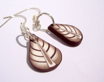 Cappucino leaf earrings polymer clay MADE TO ORDER