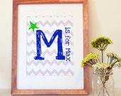 Chevron monogram 11 x 14 nursery print- personalized nursery art- monogram and name print- blue and gray print