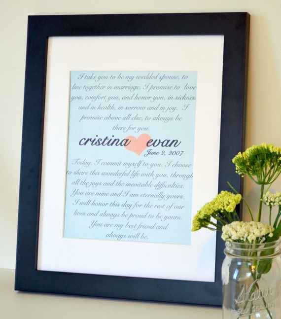 Most Romantic Wedding Gift For Husband : Wedding Vow print 8x10 Gift for husband Anniversary present for wife ...