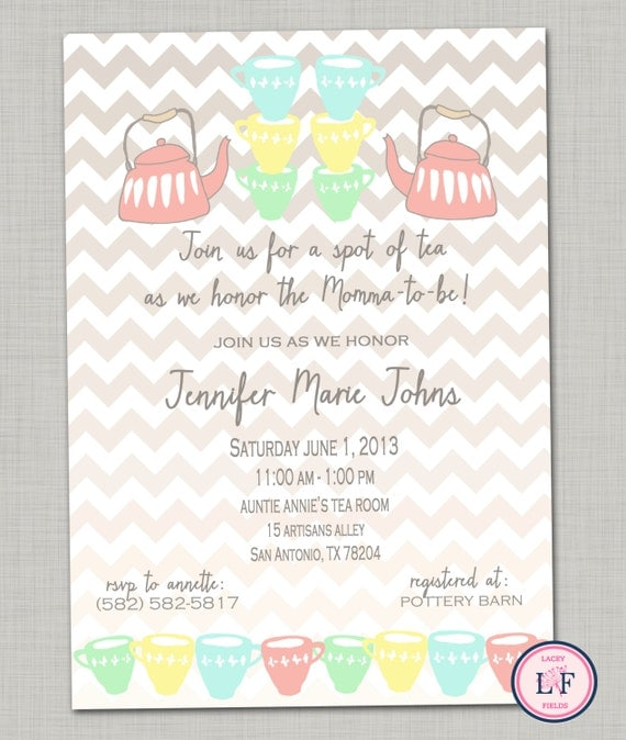 tea baby shower invitation printable tea party invite tea bridal