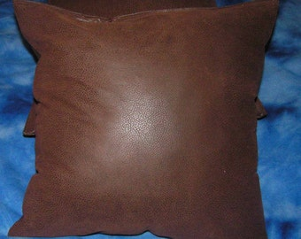2 brown faux leather throw pillow covers /pillow insert not included size 16 x 16