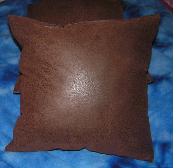 Throw Pillow Insert : 2 brown faux leather throw pillow covers /pillow insert not