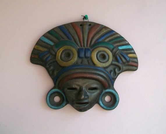 Mayan Mexican Clay Tribal Mask