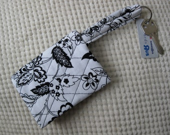 quilted fabric wallet/gift card holder/credit card organizer/business card case in black and white floral