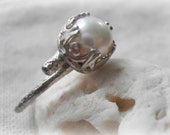 Pearl Twig Ring - Sterling Silver Branch - Cast From a Real Twig - made to order