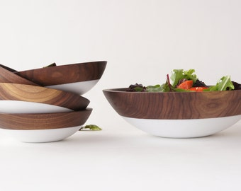 Shop Small Saturday, Wooden Salad Bowl Set of 5, White, Summer Party, Picnic,Wedding Gift, WALNUT WOOD