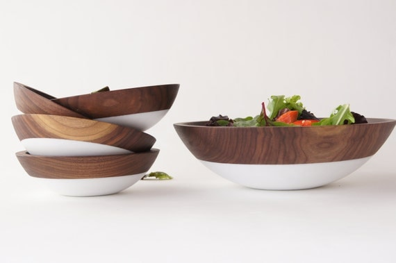 Items similar to wooden salad bowl set of white summer