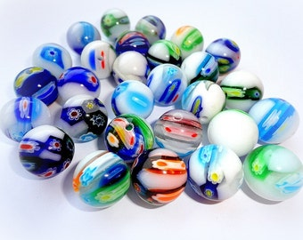 Millefiori Glass Beads, Multicolor Glass Beads, 14 mm Beads, Multicolor Round Glass Beads, 5 pcs.
