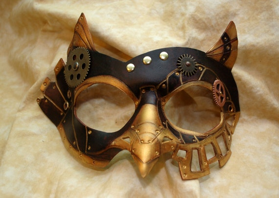 Ready To Ship -- SteamOwl Brown Leather Steampunk Owl Cosplay Mask