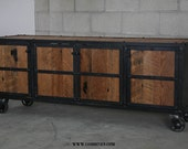 Reclaimed wood Media Console/Industrial Credenza/Buffet. Rustic media console,urban/modern design. Mid century.