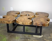 Funky Coffee Table. Modern/urban, mid century. Teak slab/crosscut  top. Industrial Steel base. Custom sizes. (vintage, live edge, wood)    )