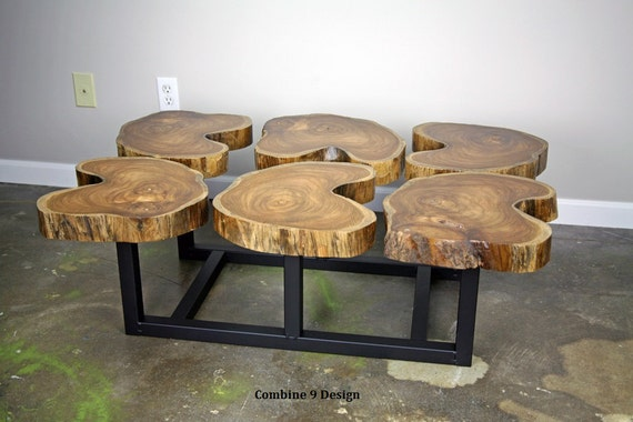 Teak Coffee Table Modern Urban Mid Century Slab Crosscut