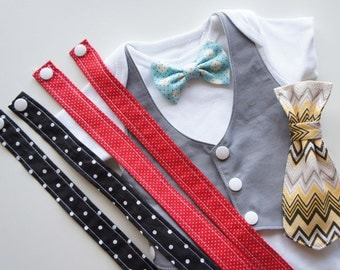 Changeable-Tuxedos And Suspenders Baby Bodysuit with Bow Tie and Tie-set of 6