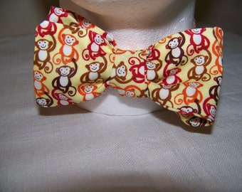 Mens Bow tie - Monkeys on Yellow Bow Tie - Designer Cotton - Self Tie and Adjustable Handsome Harry